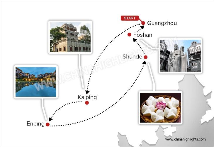 kaiping-and-foshan-tour-map
