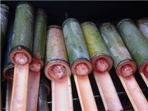 Rice Cooked in Bamboo Tubes