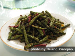 The dry sauteed string beans