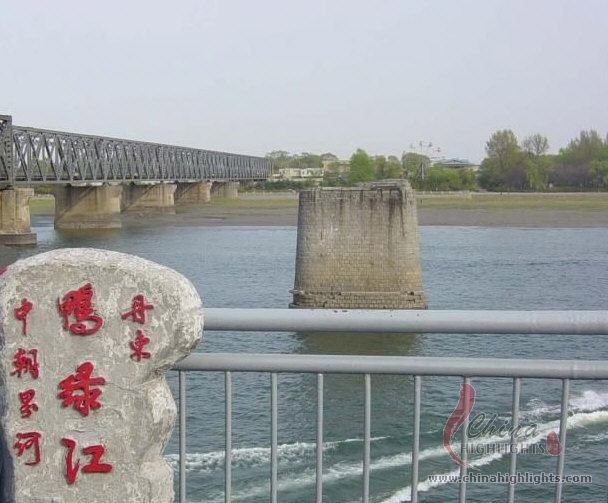 North Korean seen from across the Yalu River, Dandong
