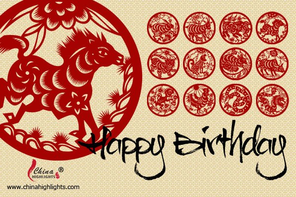Chinese Zodiac Birthday Card Horse