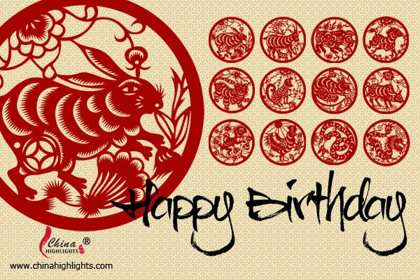 Rabbit - Chinese Zodiac Birthday Card