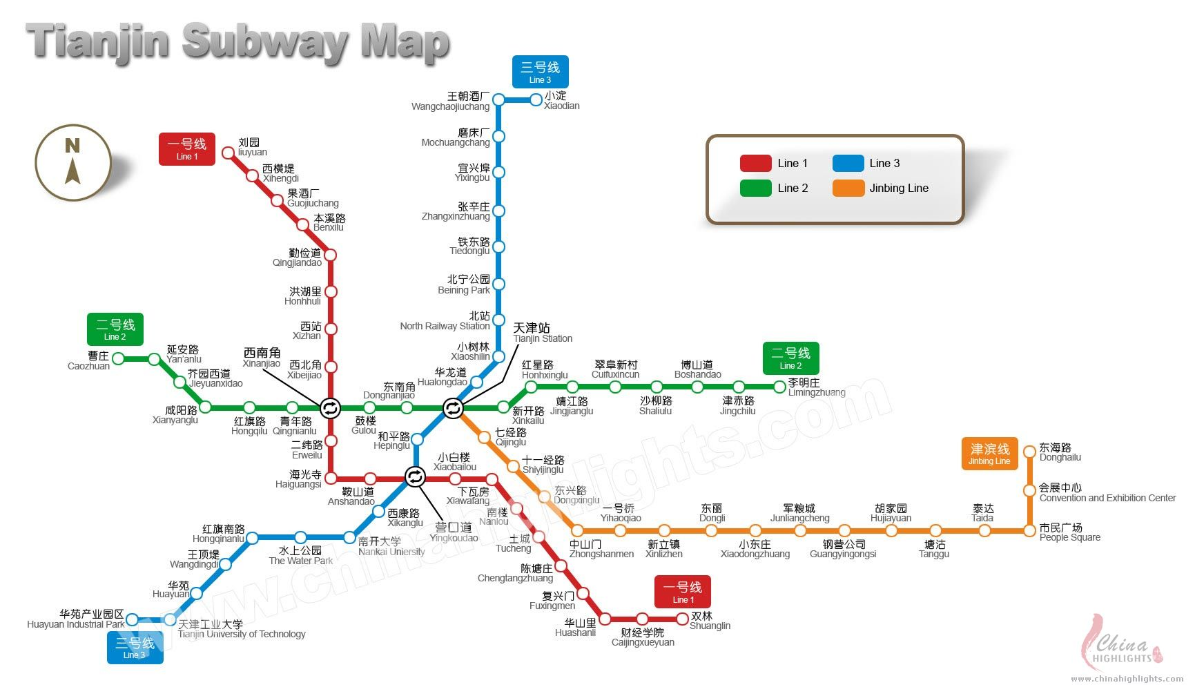Tianjin Map, Map of Tianjin's Tourist Attractions and Subway