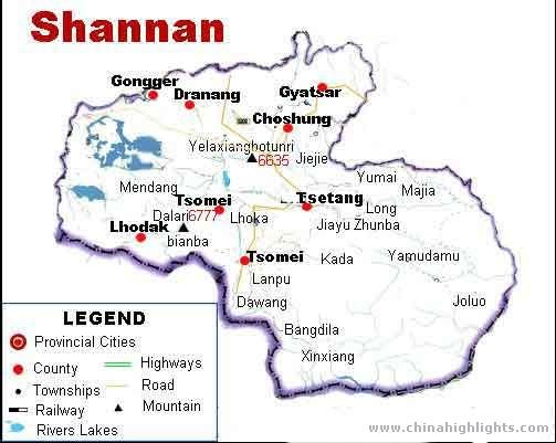 Tsetang Map of the Region