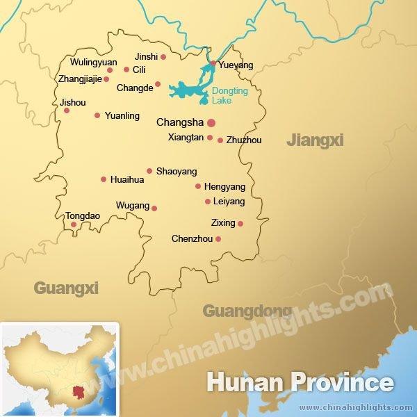 Hunan City China Map