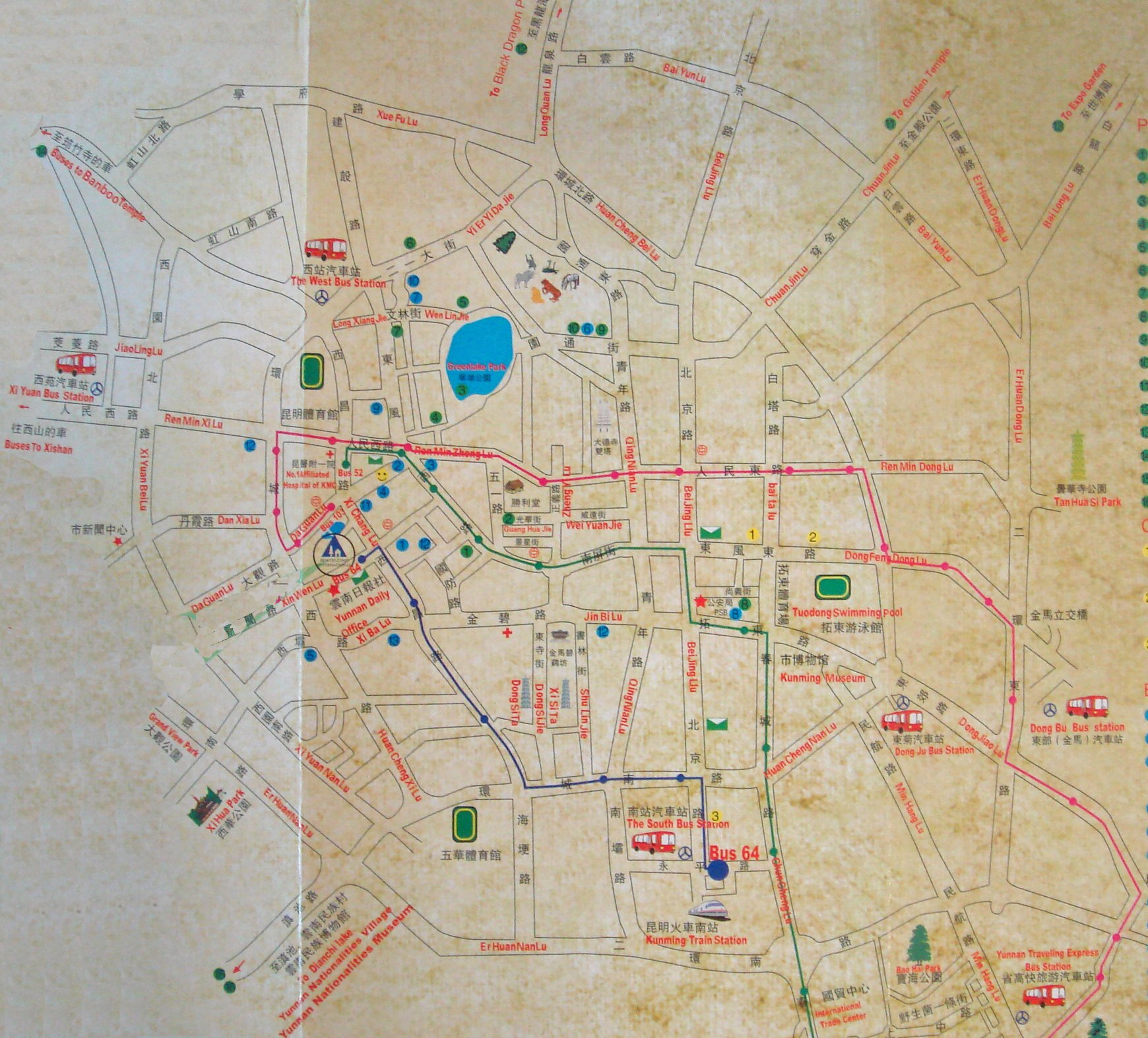 Kunming City Center Map