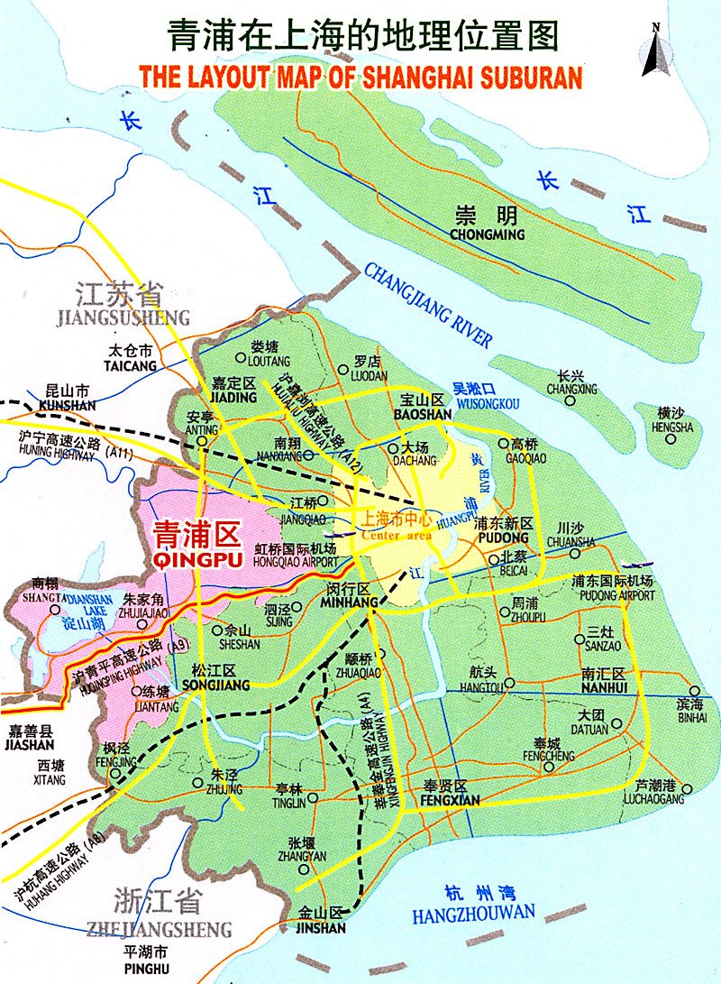 Qingpu District Map