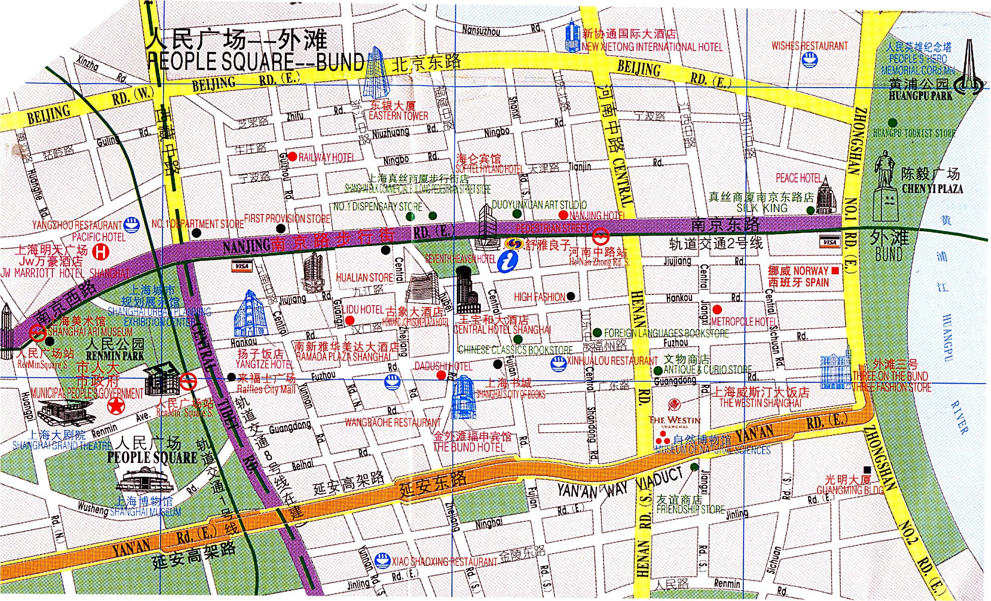 Area Map Between People's Square to The Bund