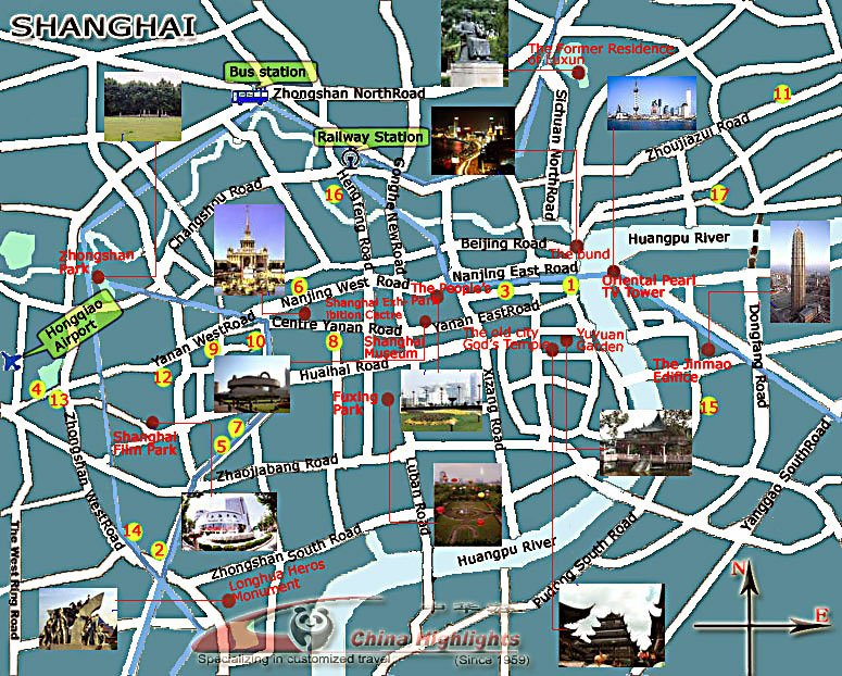 Shanghai Attractions Photo Map