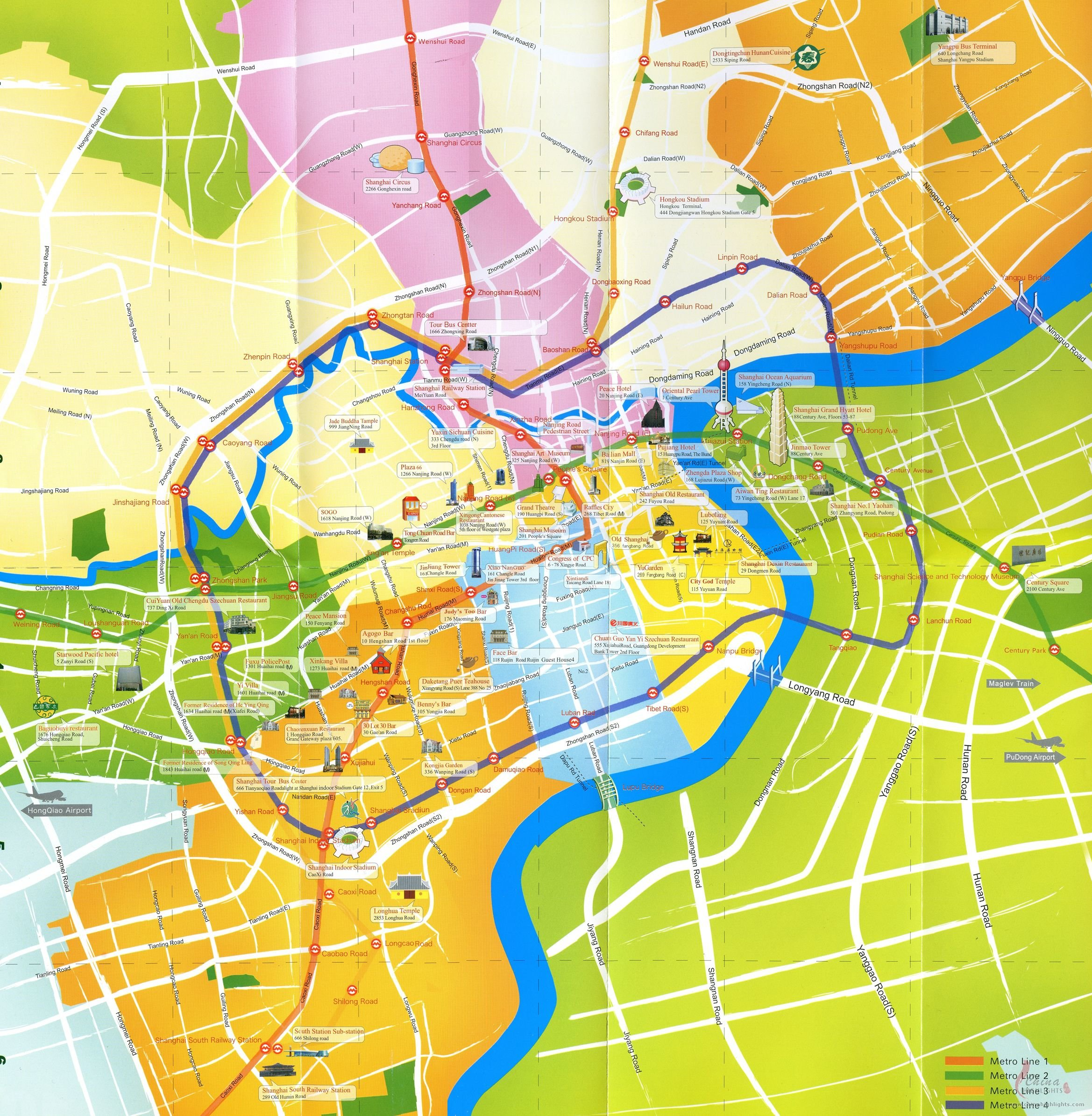 Shanghai Map, Map of Shanghai's Tourist Attractions and Subway