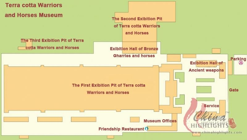 Terra Cotta Warriors and Horses Museum Tour Map