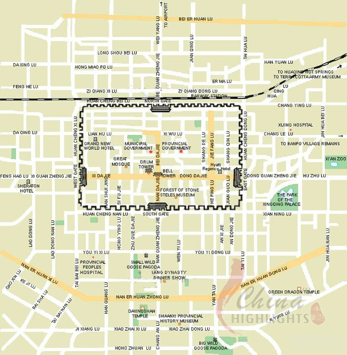 Xi'an Map, Xi'an Tourism Map and Terracotta Army Route Map on