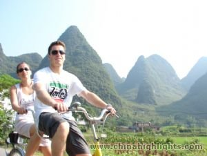 biking in the wild nature in Yangshuo